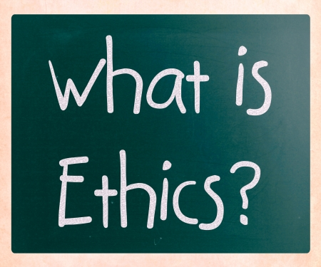 'What is Ethics?' handwritten with white chalk on a blackboard photo