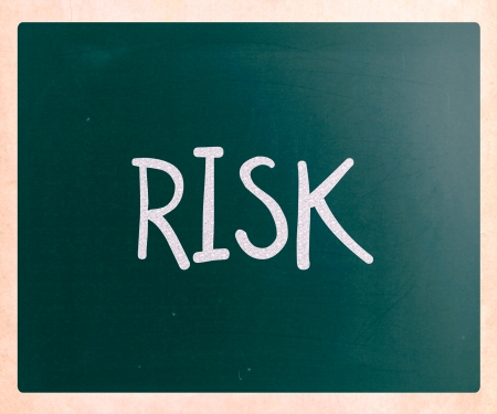 The word Risk handwritten with white chalk on a blackboard photo
