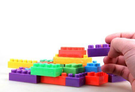 red building blocks: Plastic Building Blocks Stock Photo