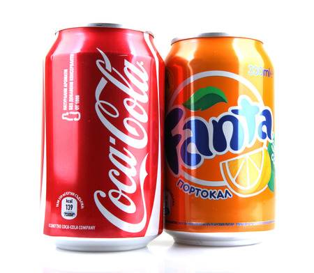 AYTOS, BULGARIA - JANUARY 23, 2014: Global brand of fruit-flavored carbonated soft drinks created by The Coca-Cola Company.