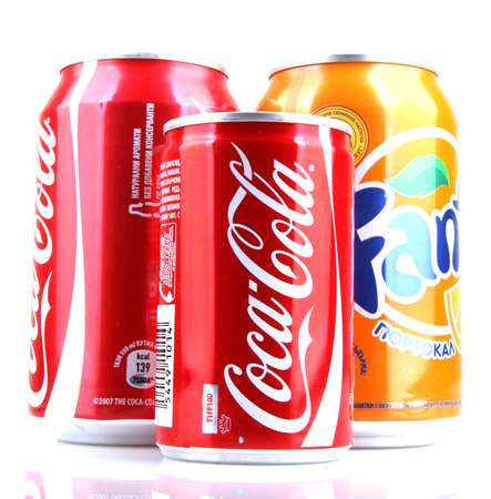 carbonated: AYTOS, BULGARIA - JANUARY 23, 2014: Global brand of fruit-flavored carbonated soft drinks created by The Coca-Cola Company.