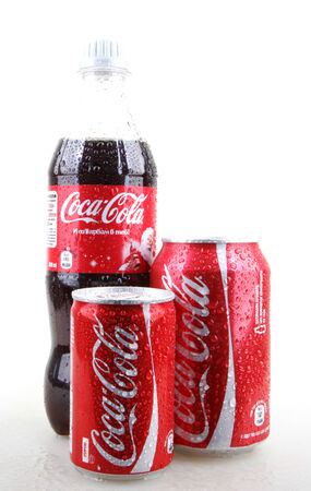 AYTOS, BULGARIA - JANUARY 28, 2014: Coca-Cola isolated on white background. Coca-Cola is a carbonated soft drink sold in stores, restaurants, and vending machines throughout the world.