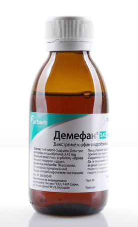 AYTOS, BULGARIA - JANUARY 28, 2014  Liquid medicine in glass bottle - Extromethorphan hydrobromide 3420 mg