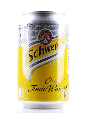 quinine: AYTOS, BULGARIA - FEBRUARI 01, 2014: Schweppes isolated on white . Schweppes is a beverage brand that is sold around the world. It includes a variety of carbonated waters and ginger ales. Editorial