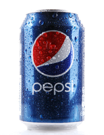 AYTOS, BULGARIA - FEBRUARI 01, 2014: Pepsi isolated on white background. Pepsi is a carbonated soft drink that is produced and manufactured by PepsiCo.