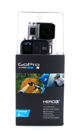 AYTOS, BULGARIA - FEBRUARI 14, 2014: HERO3+ Black Edition isolated on white background. GoPro is a brand of high-definition personal cameras, often used in extreme action video photography.