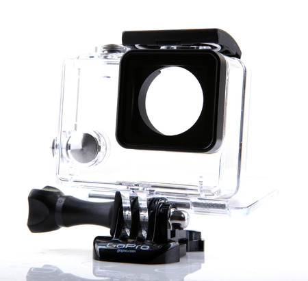 AYTOS, BULGARIA - FEBRUARI 17, 2014: GoPro HERO3+ Black Edition isolated on white background. GoPro is a brand of high-definition personal cameras, often used in extreme action video photography.