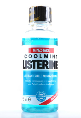 mouthwash: AYTOS, BULGARIA - MARCH 14, 2014: Listerine isolated on white background. Listerine is a brand of antiseptic mouthwash product. Editorial