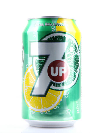 AYTOS, BULGARIA - MARCH 14, 2014: 7 Up isolated on white background. 7 Up is a brand of lemon-lime flavored, non-caffeinated soft drink.