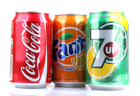 carbonated: AYTOS, BULGARIA - MARCH 14, 2014: Global brand of fruit-flavored carbonated soft drinks created by The Coca-Cola Company.