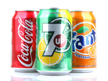 AYTOS, BULGARIA - MARCH 14, 2014: Global brand of fruit-flavored carbonated soft drinks created by The Coca-Cola Company.