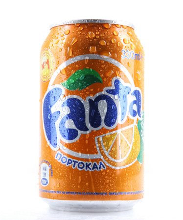 AYTOS, BULGARIA - MARCH 14, 2014: Fanta can isolated on white background. Fanta is a carbonated soft drink sold in stores, restaurants, and vending machines throughout the world.