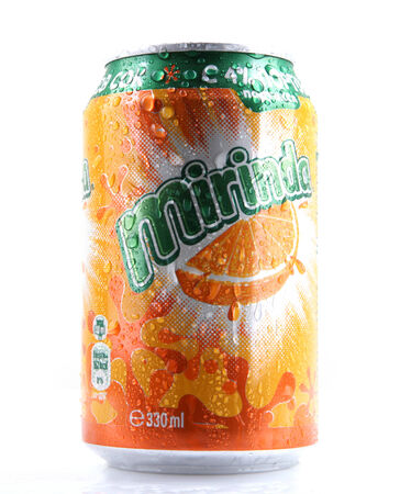 AYTOS, BULGARIA - MARCH 14, 2014: Mirinda isolated on white background. Mirinda is a brand of soft drink originally created in Spain, with global distribution.