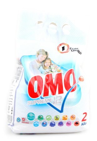 sachets: AYTOS, BULGARIA - MARCH 15, 2014: OMO Extra Clean isolated on white background. From washing liquids to capsules, powder, tablets and sachets, Omo laundry products help tackle tough stains, even at low temperatures.