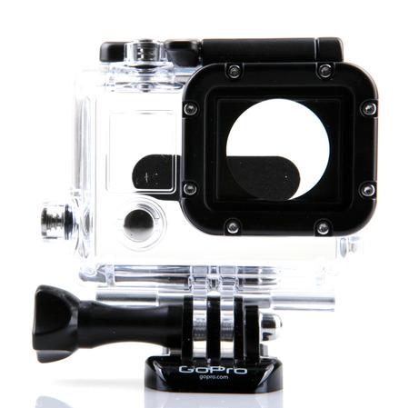 cam gear: AYTOS, BULGARIA - MARCH 15, 2014: HERO3  Skeleton Housing isolated on white. GoPro is a brand of high-definition personal cameras, often used in extreme action video photography.