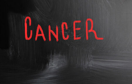 cancer handwritten with chalk on a blackboard photo