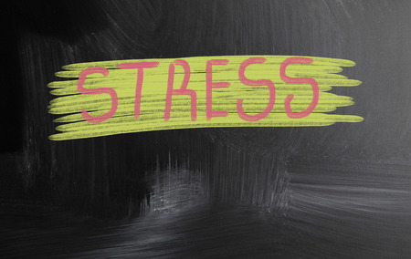 stress handwritten with chalk on a blackboard photo