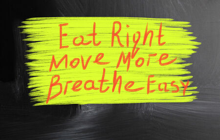 eat right: eat right move more breathe easy Stock Photo