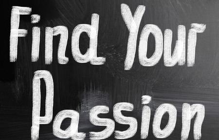 find your passion handwritten with chalk on a blackboard photo