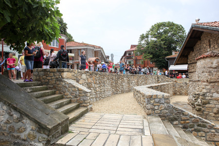 People visit Old Town on June 18, 2014 in Nessebar, Bulgaria.