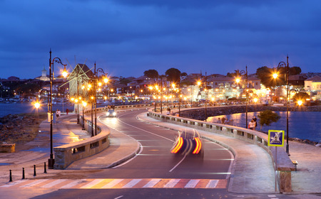 NESSEBAR, BULGARIA - JUNE 18: Nessebar at Night, June 18, 2014. Nessebar in 1956 was declared as museum city, archaeological and architectural reservation by UNESCO.