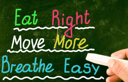 eating right: eat right move more breathe easy Stock Photo