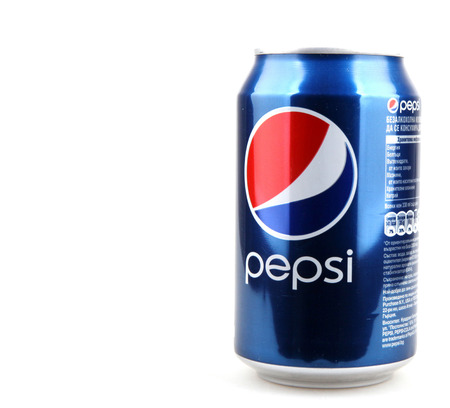 carbonated: AYTOS, BULGARIA - DECEMBER 11, 2014: Pepsi isolated on white background. Pepsi is a carbonated soft drink that is produced and manufactured by PepsiCo. Editorial