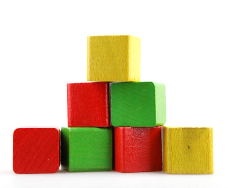 red building blocks: Wooden building blocks Stock Photo