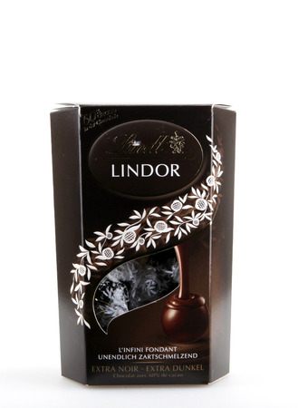 AYTOS, BULGARIA - DECEMBER 29, 2014: Milk Chocolate LINDOR truffle. Lindt is recognized as a leader in the market for premium quality chocolate. Editorial