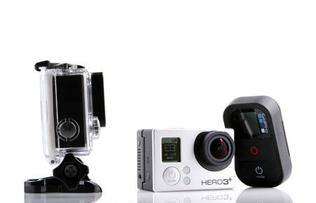cam gear: AYTOS, BULGARIA - JANUARI 04, 2015: GoPro HERO3+ Black Edition isolated on white background. GoPro is a brand of high-definition personal cameras, often used in extreme action video photography.
