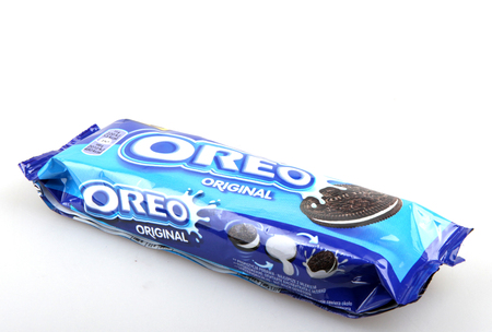 AYTOS, BULGARIA - APRIL 03, 2015: Oreo isolated on white background. Oreo is a sandwich cookie consisting of two chocolate disks with a sweet cream filling in between.