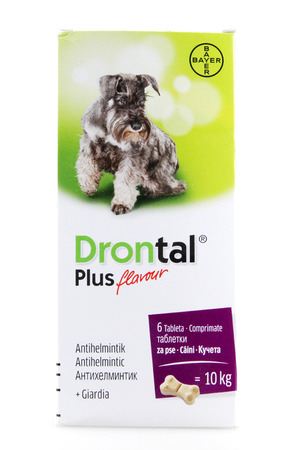 pharmaceutical company: AYTOS, BULGARIA - APRIL 16, 2015: Drontal Plus Tablets for Dogs. Bayer AG is a German multinational chemical and pharmaceutical company. Editorial