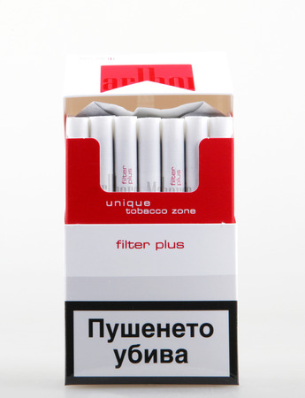 AYTOS, BULGARIA - JULY 08, 2015:  Pack of Marlboro Cigarettes, made by Philip Morris. Marlboro is the largest selling brand of cigarettes in the world. Editorial