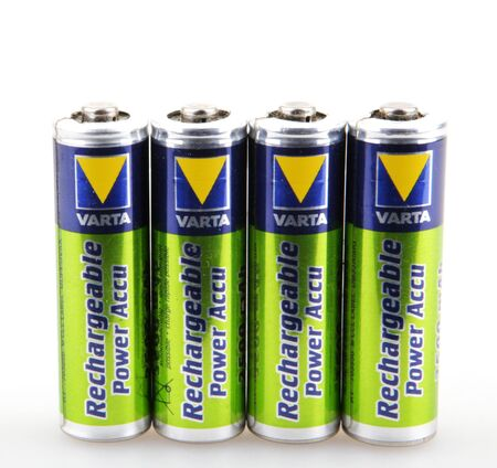 ag: AYTOS, BULGARIA - JULY 29, 2015: VARTA batteries isolated on white. VARTA AG is a German company manufacturing batteries for global automotive, industrial, and consumer markets. Editorial