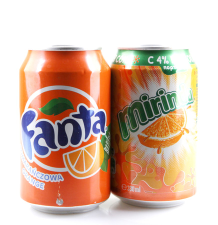 carbonated: AYTOS, BULGARIA -AUGUST 11, 2015: Global brand of fruit-flavored carbonated soft drinks created by The Coca-Cola Company.