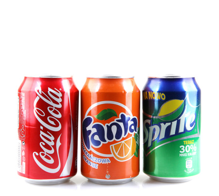 AYTOS, BULGARIA -AUGUST 11, 2015: Global brand of fruit-flavored carbonated soft drinks created by The Coca-Cola Company. Stock Photo - 43534442