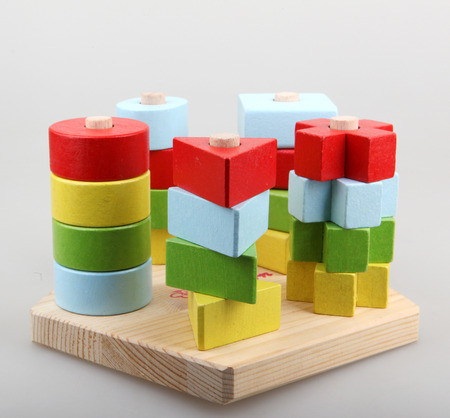 building block: Wooden building blocks Stock Photo
