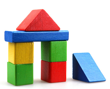 wood blocks: Wooden building blocks Stock Photo
