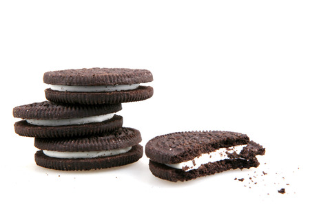 sandwich cookies consisting of two chocolate disks with a sweet cream filling in between.