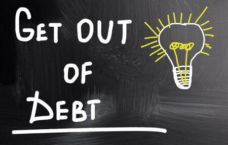 get out: get out of debt Stock Photo