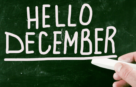 december: hello december Stock Photo