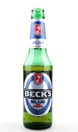nonalcoholic beer: AYTOS, BULGARIA - APRIL 03, 2016: Becks Non-Alcoholic Beer Isolated On White. Becks Brewery is a German brewery in the northern German city of Bremen.