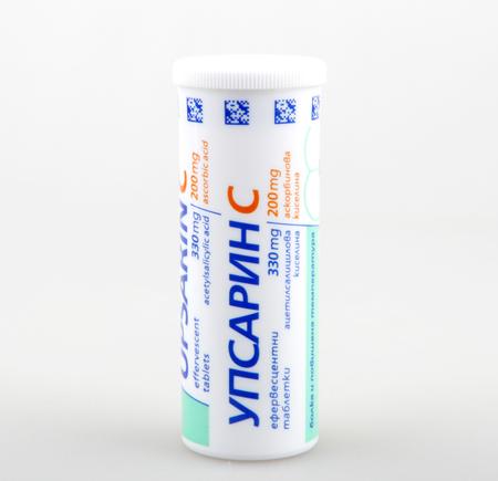 fizzy tablet: AYTOS, BULGARIA - JUNE 30, 2016: Upsarin UPSA with Vitamin C. Upsarin - medicine group of non-steroidal anti-inflammatory drugs.