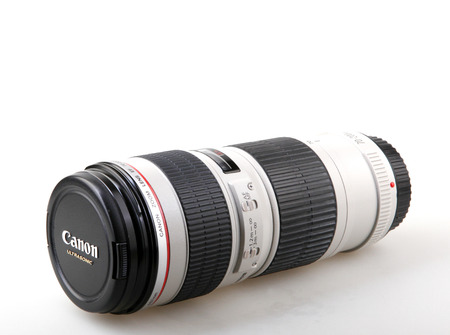Pomorie, Bulgaria - September 13, 2017: Canon EF 70-200mm f4L USM Lens. Canon Inc. is a Japanese multinational corporation specialized in the manufacture of imaging and optical products.