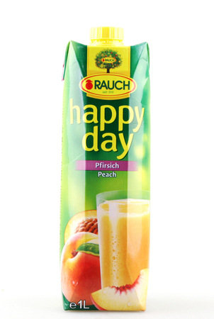 Pomorie, Bulgaria - September 13, 2017: Natural Fruit Juice Rauch. Rauch is an Austrian beverage company based in Rankweil. It was founded in 1919.