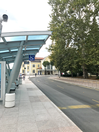 Burgas, Bulgaria - September 18, 2017: Burgas central bus station. Burgas is the second largest city on the Bulgarian Black Sea Coast and the fourth-largest in Bulgaria. Editorial