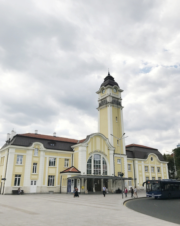 Burgas, Bulgaria - September 18, 2017: Burgas Central railway station. Burgas is the second largest city on the Bulgarian Black Sea Coast and the fourth-largest in Bulgaria.