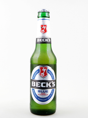 Pomorie, Bulgaria - October 03, 2017: Becks beer isolated on white background. Becks brewery was founded in 1873 in Bremen, Germany.