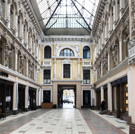 Odessa, Ukraine - November 17, 2017: The Passage is a hotel and a mall, an architectural masterpiece of the end of the 19th century located on the corner of Deribasovskaya and Preobrajenskaya Streets.