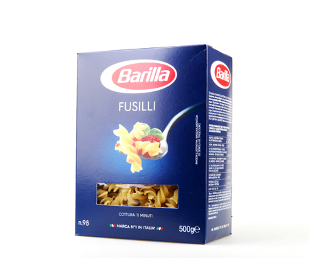 Pomorie, Bulgaria - Februari 03, 2018: Barillas Fusilli pasta isolated on white background. Barilla is an Italian food company, founded in 1877 in Parma, Italy.